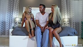 Cute fair-haired babes Devon and Nikki Benz share cum from several guy
